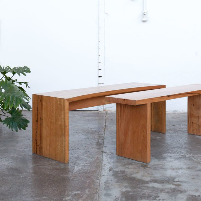 waterfall timber benches with plants