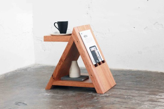 Tipi recycled timber side table. Custom made in Melbourne