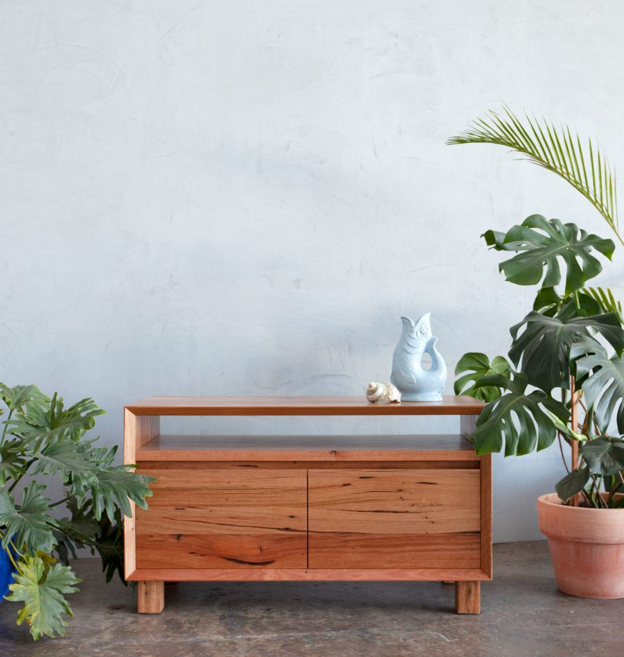 timber console unit with monstera and palms