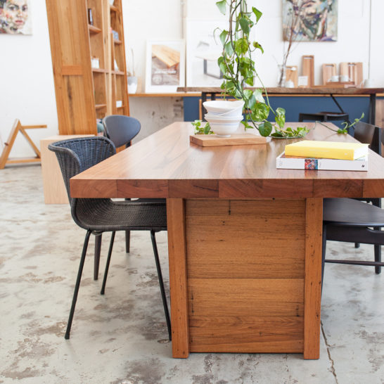 Melbourne made custom recycled hardwood dining table