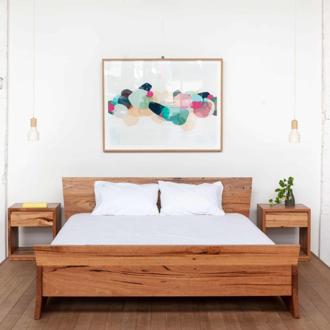 Queen bed with painting