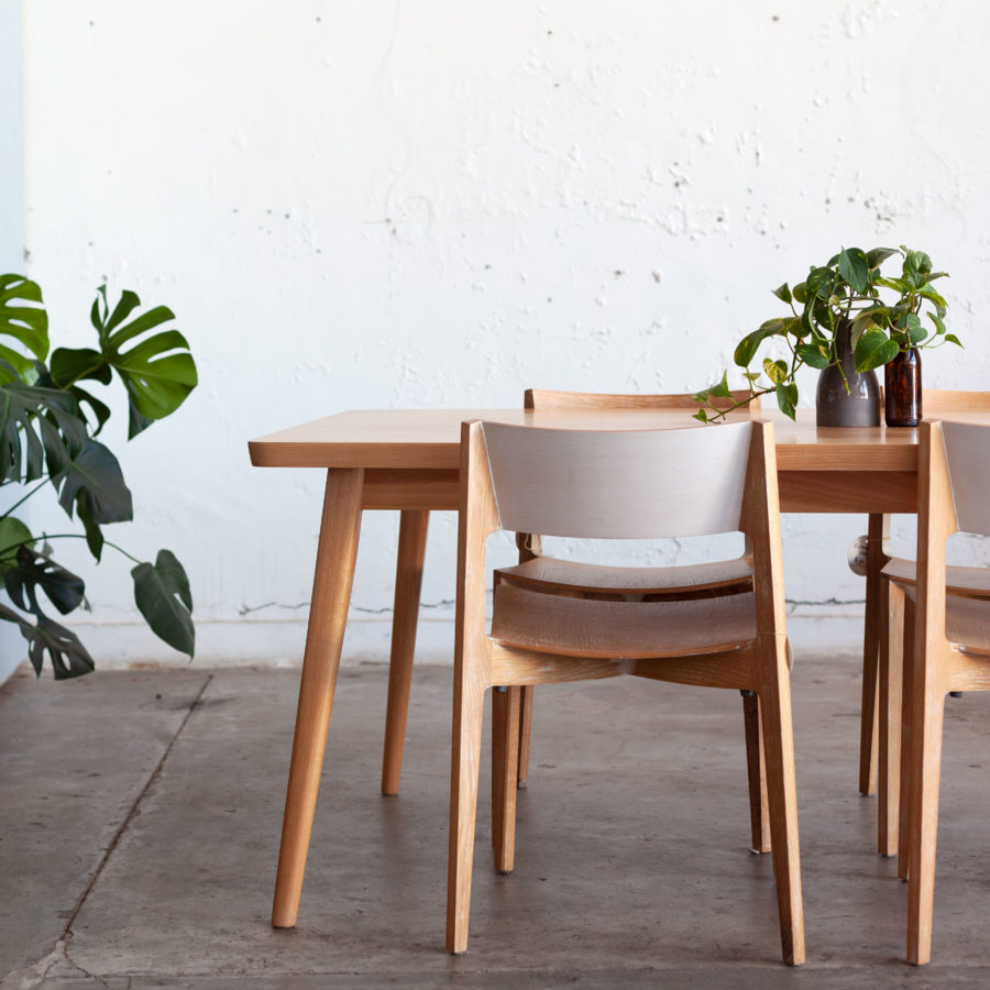 Timber table with plants