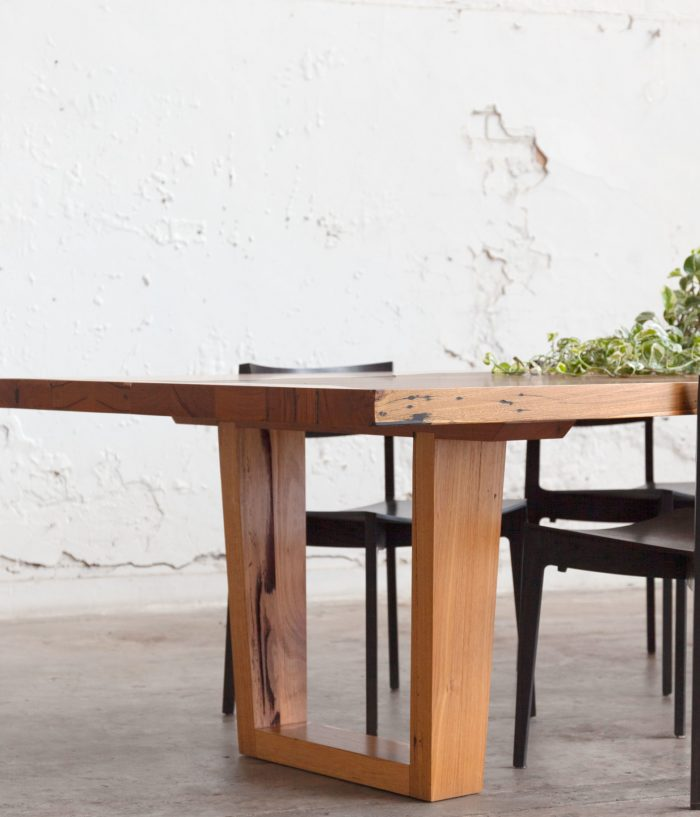 Timber dining table with chairs