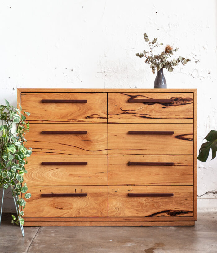 timber tallboy with monstera