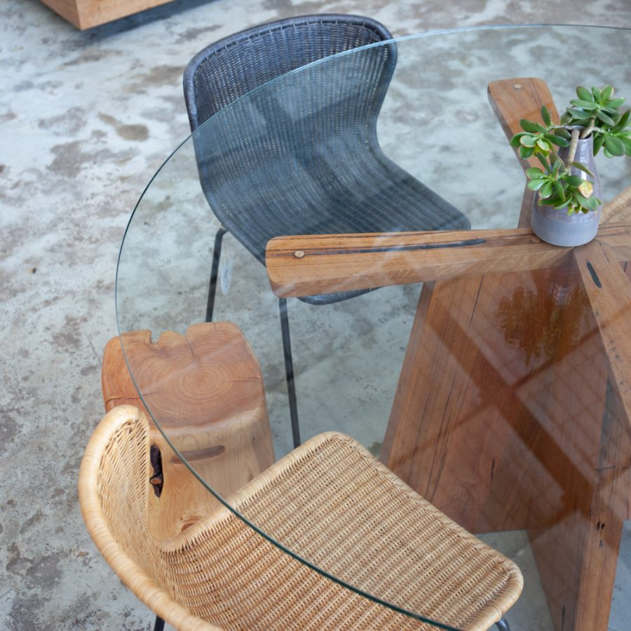 glass timber table with chairs and timber stool