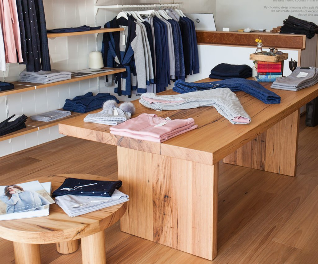 timber tables in retail shop