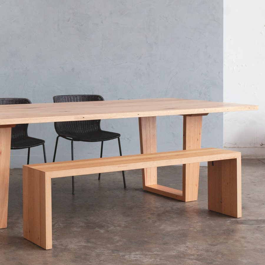timber dining table and bench seat