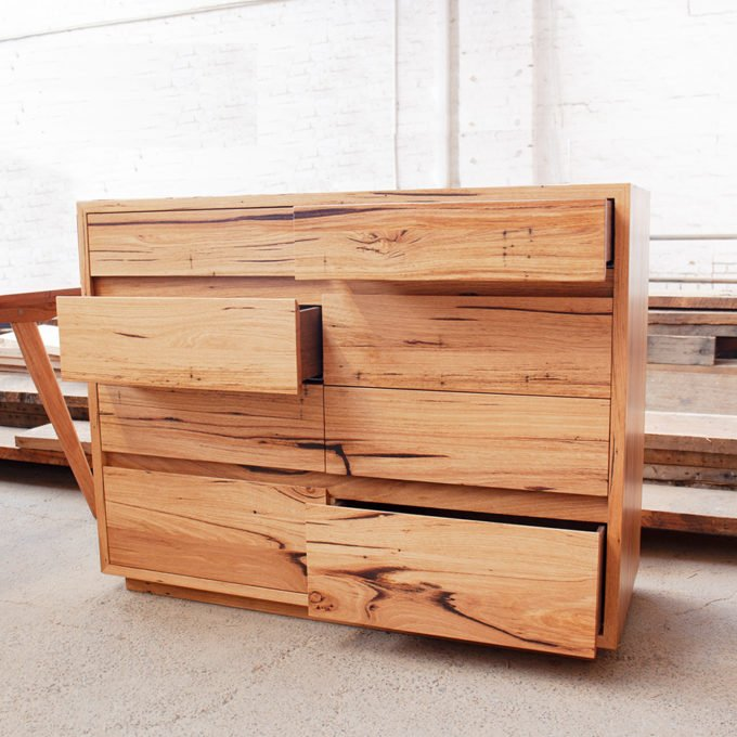 custom Tallboy draws made from recycled timber