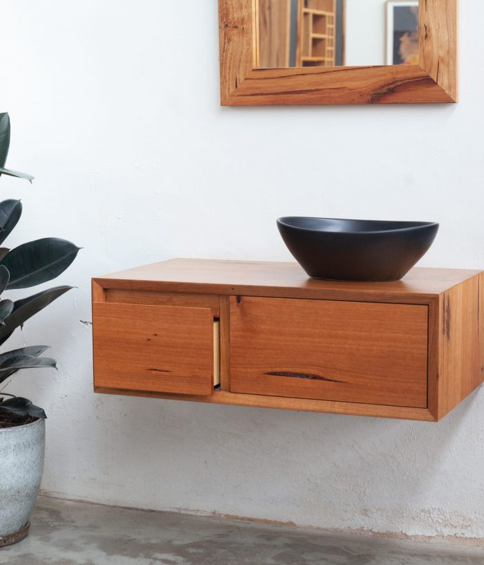recycled timber bathroom vanity with mirror