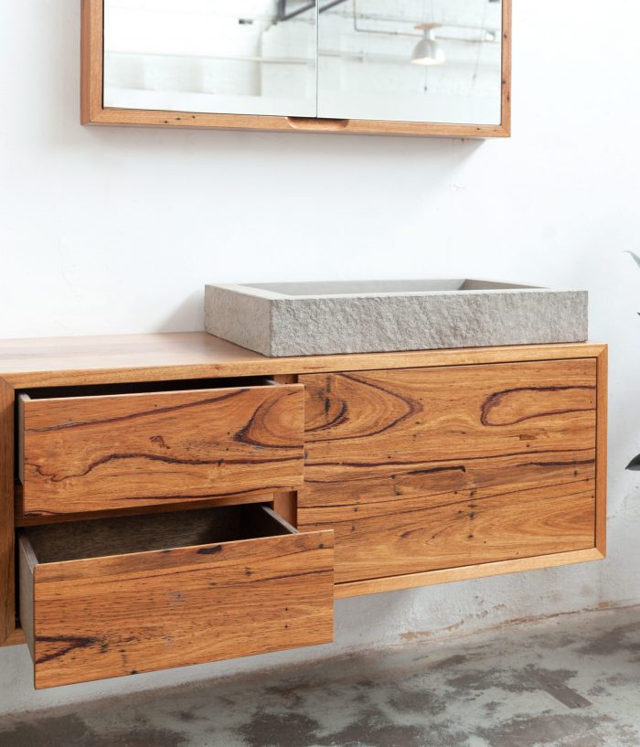 timber vanity unit with timber shaving mirror