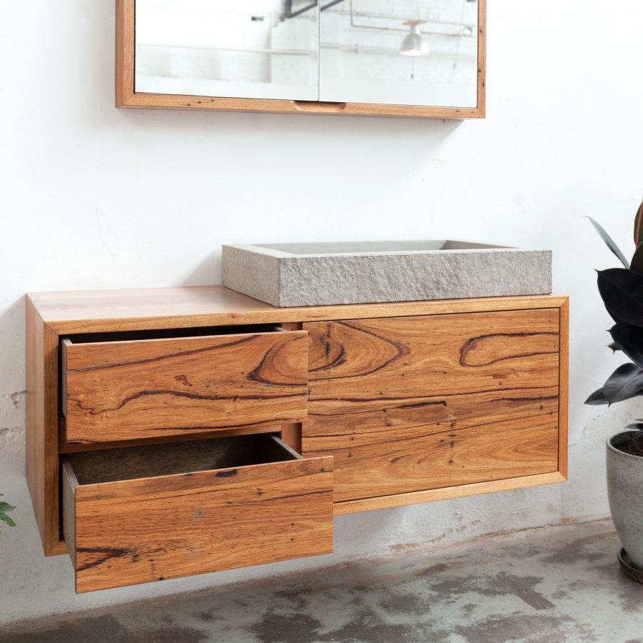 timber vanity unit with matching mirror