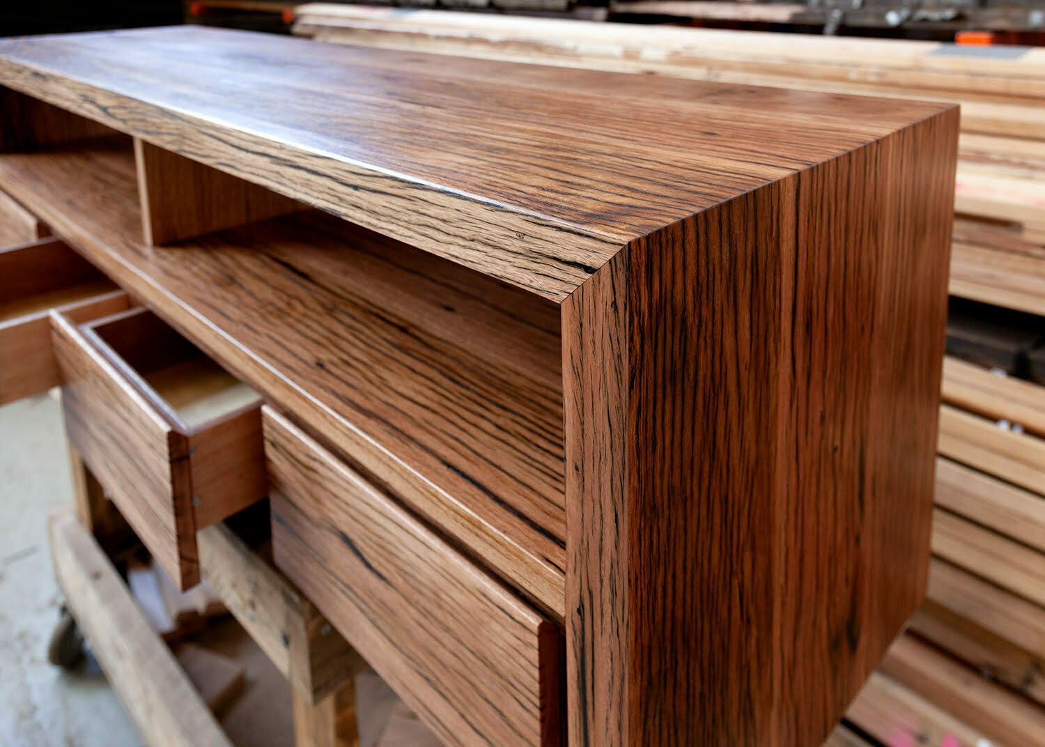custom console made from recycled timber in Melbourne