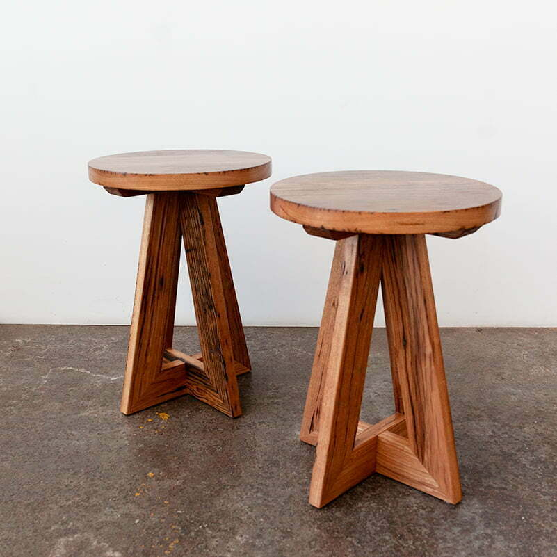 custom side table made in Melbourne from recycled timber