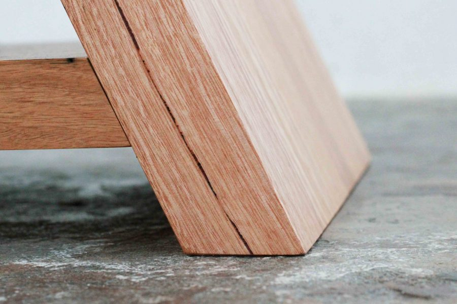 Close up of timber side table