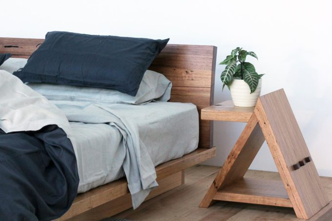 Side table with timber bed