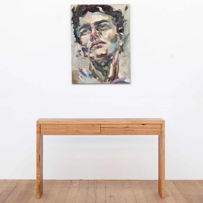 recycled timber hall table with painting