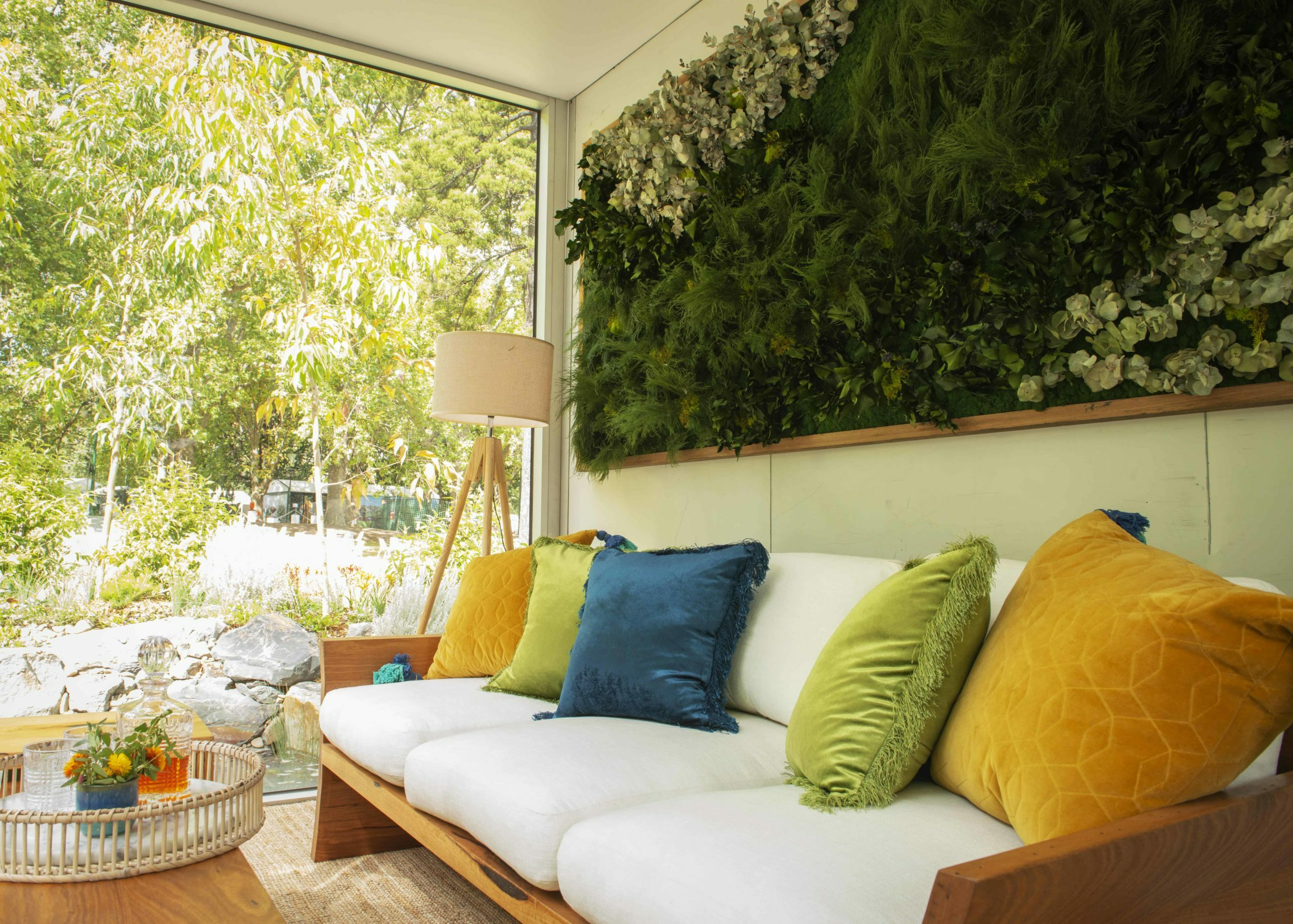 Timber sofa with plants