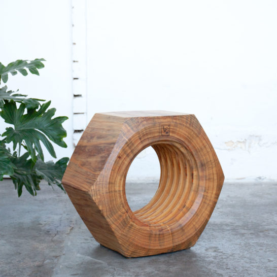 timber sidetable with plant