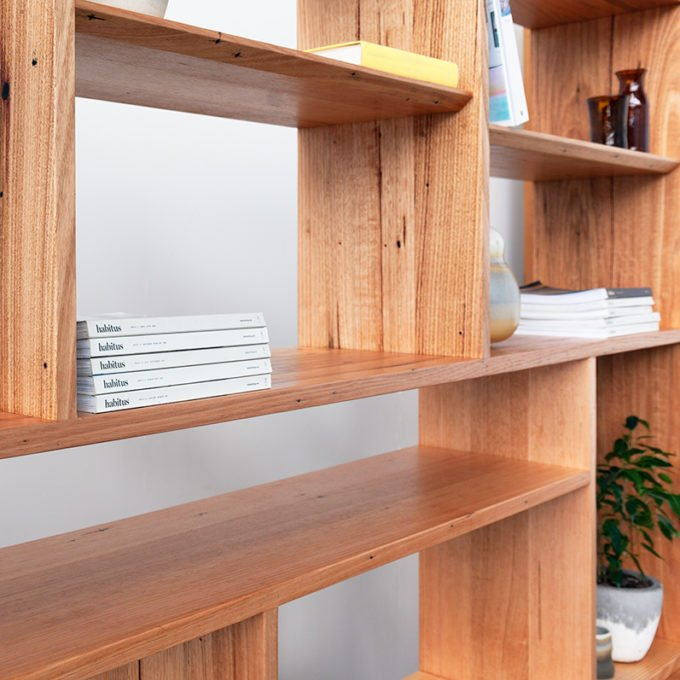 custom wall unit shelves with magazine and plant