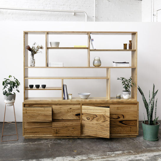 Wall Unit and buffet with plants