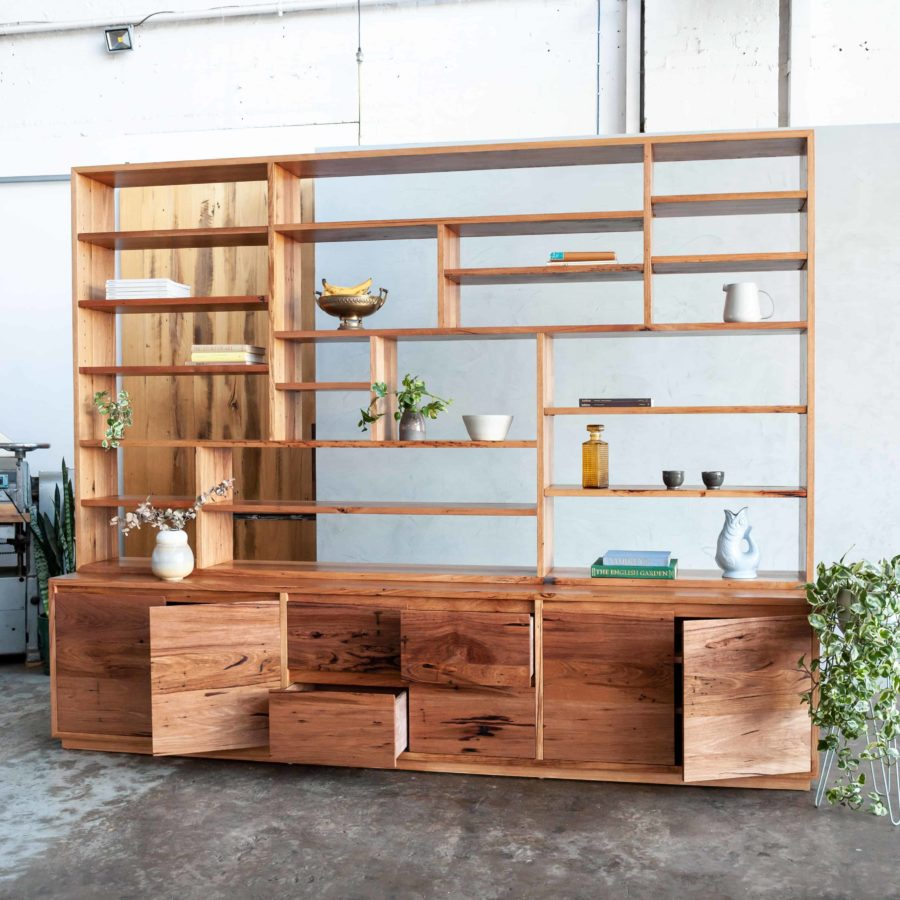 timber wall unit with console