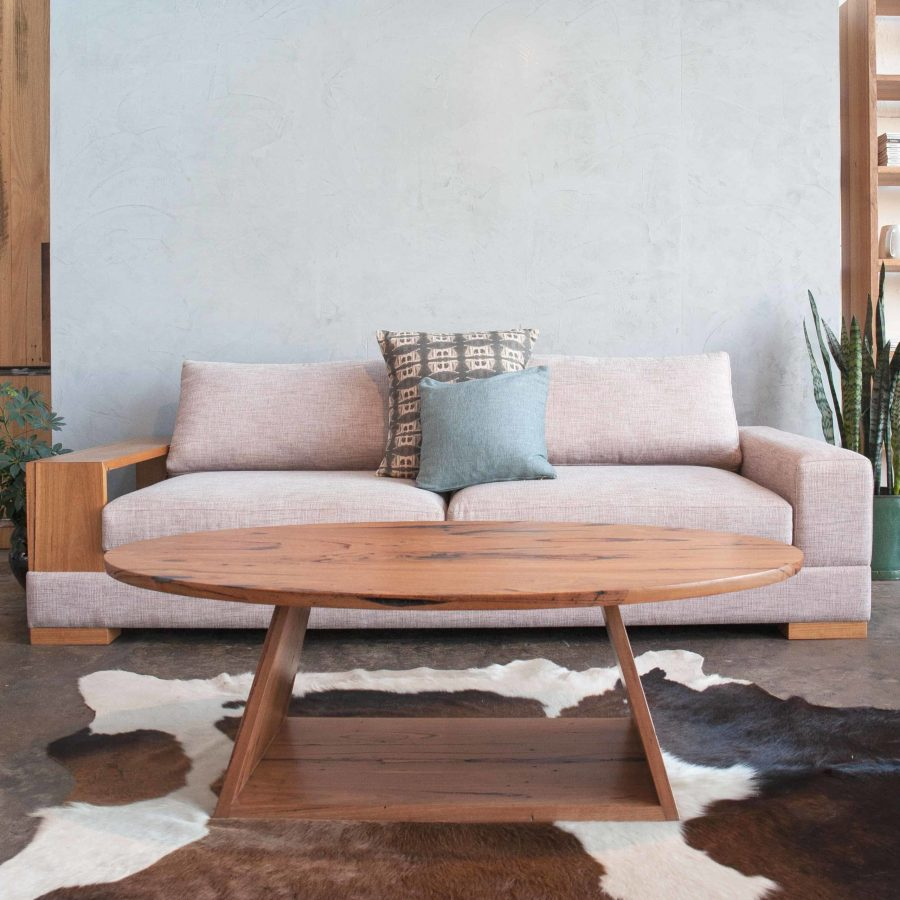 blush neptune sofa with coffee table