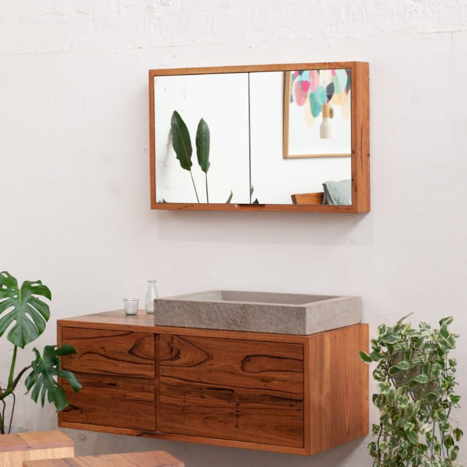 timber shaving mirror with matching vanity