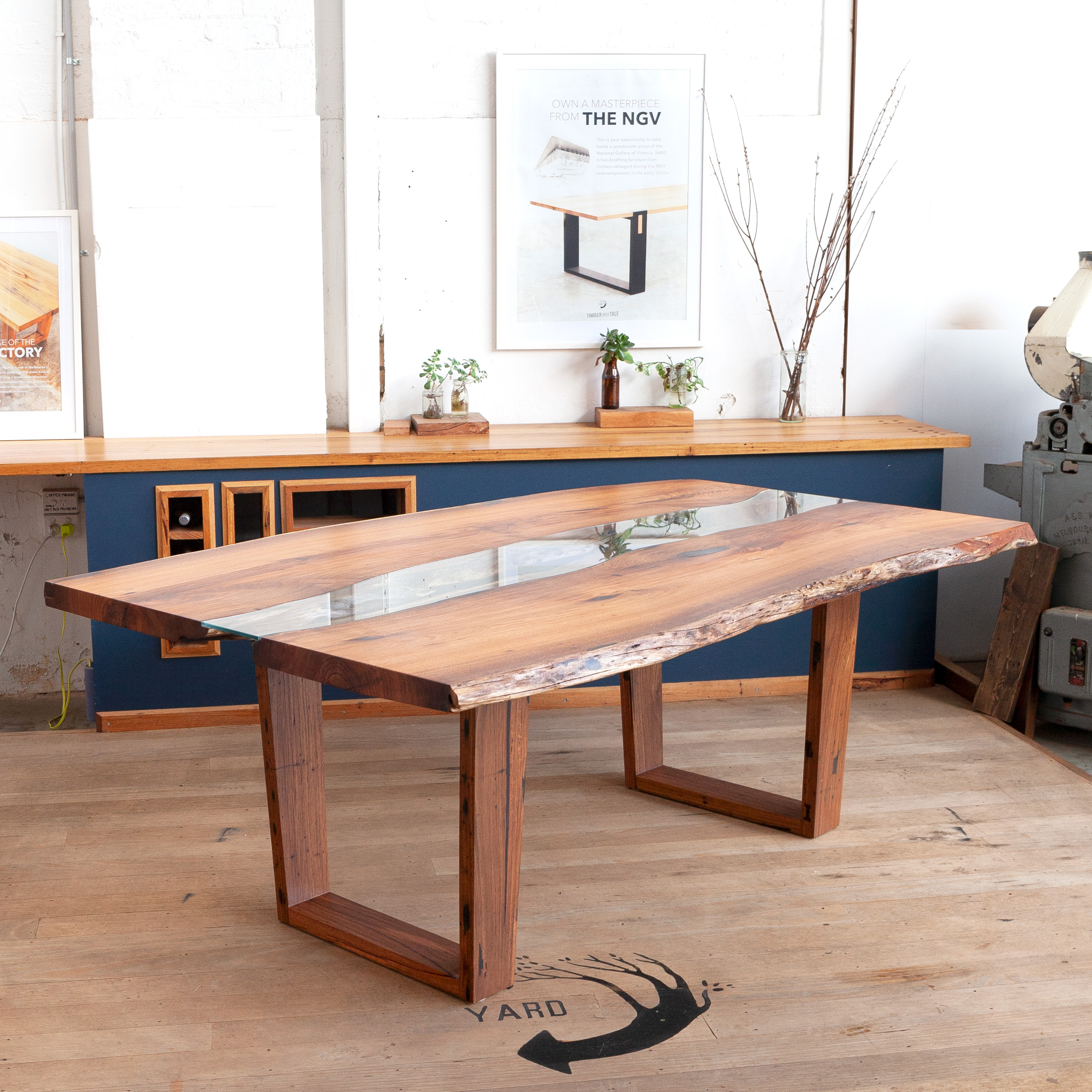 Blackwood timber dining table with glass inlay
