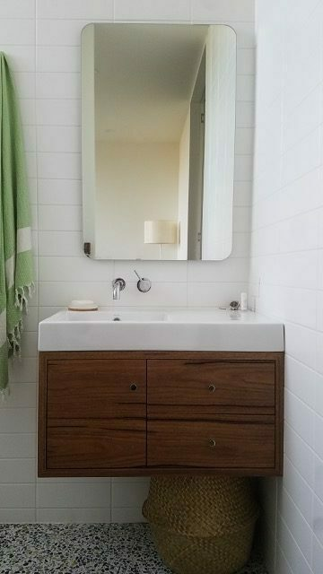 raw edge timber bathroom