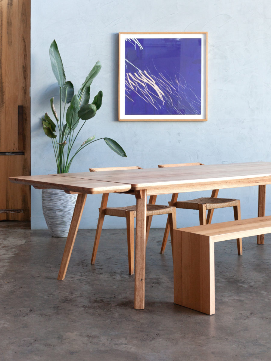 timber dining table and bench