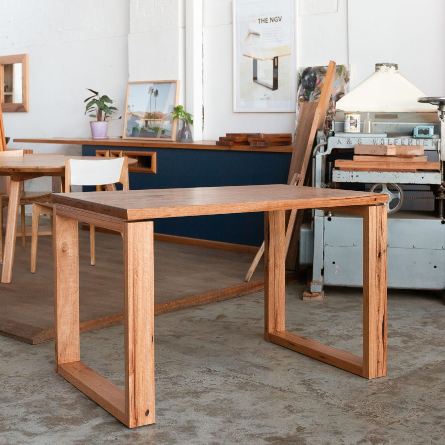 timber desk with chairs